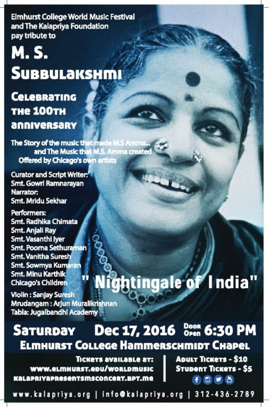 M.S. Subbulakshmi Tribute Concert in Chicago